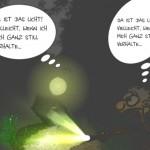 Ein Cartoon über das mysteriöse Waldlicht von Brieselang