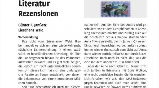 """Ausführliche Rezension zu """"Lieschens Wald"""" erschienen"""